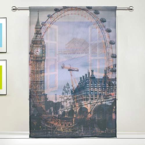 CPYang Vorhang London Eye Big Ben Voile Fenstervorhang Vorhänge für Wohnzimmer, Schlafzimmer, Tür, Küche, 139,7 x 198 cm, 1 Paneel, Textil, Multi, 55 x 78 inch