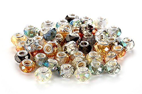 BRCbeads 50Pcs Mix Silver Plate Faceted STYLE3 AB Color Murano Lampwork European Glass Crystal Charms Beads Spacers Snake Chain Charm Bracelets.