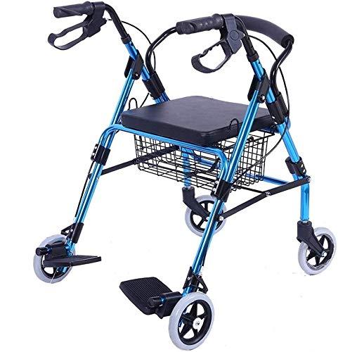 4 wielen met mandje, rollator met rugleuning, zitting en tas ouderling standaard Walker en Walking Frame
