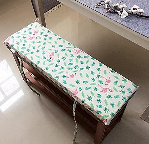 Cojín de banco largo de 4 cm de grosor con lazos de fijación, almohadilla de banco de jardín de 2 o 3 plazas, colchón de repuesto para interior y exterior, lavable (100 x 30 cm, E)