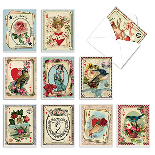 The Best Card Company - 10 Boxed Valentine Note Cards with Envelopes - Loving, Heartfelt Assorted Greeting Cards for Valentine's Day (4 x 5.12 Inch) - All Decked Out M2381VDG-B1x10