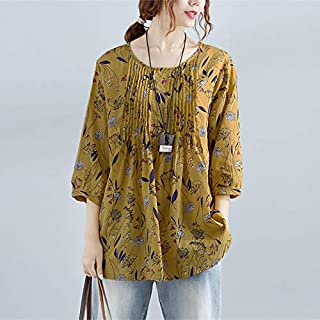 Funien Vintage Women Cotton Blouse Floral Print O-Neck 3/4 Sleeve Casual Loose Shirt Tee Tops Yellow/Green/Blue