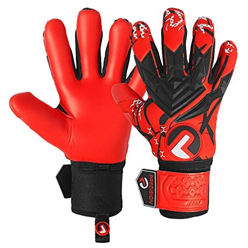 Precision - Guantes de portero de fútbol con agarre suave en la palma de la mano, guantes de portero profesionales, guantes de portero de fútbol para adultos y jóvenes, nivel 1 (rojo, 8)