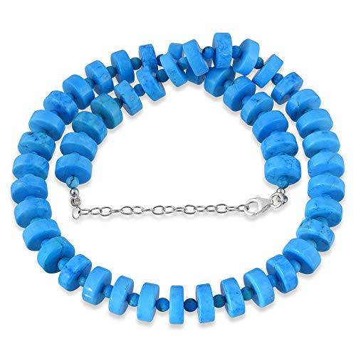 Turquoise Necklace, Turquoise Beads Necklace, Beaded Turquoise Necklace, Boho Jewelry, Blue Gemstone Necklace, Minimalist Necklace