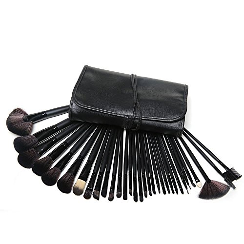 KanCai Makeup Brushes 32 Pcs Professional Facial Cosmetic Brush Set Kit with Black PU Leather (Black) by KanCai