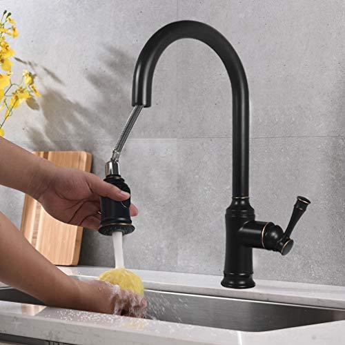 Keukenkraan uittrekbaar, kraan met sproeier, uittrekbaar, 360 graden draaibaar, 2 functies waterkraan voor keuken, ORB, PHASAT KZ06