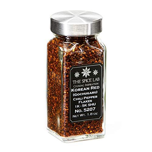 The Spice Lab No. 207 - (1.8 oz) Korean Red Chili Pepper Flakes (Gochugaru) Mild Korean Chili used for Flavor - Kosher Gluten-Free Non-GMO All Natural Peppers - French Jar