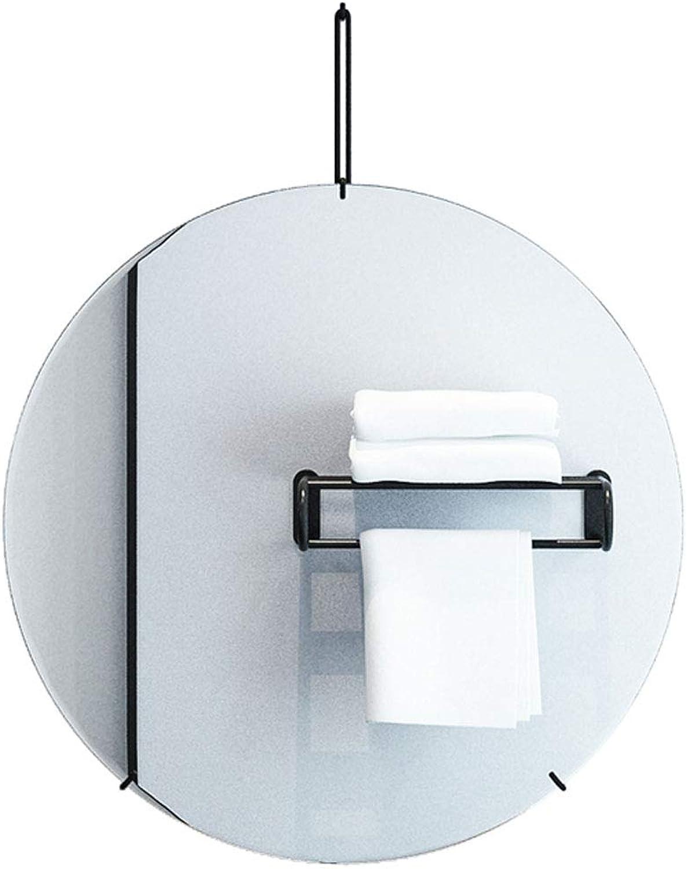 Nordic Bathroom Mirror 15.7-27.6Inch Round Iron Art Wall Hanging Mirror Contemporary Home Decorative Mirror Vanity Bedroom Living Room Hallway Mirror