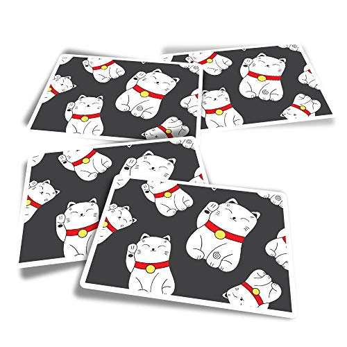 Vinyl Rectangle Stickers (Set of 4) - Cute Chinese Lucky Cats Japanese Fun Decals for Laptops,Tablets,Luggage,Scrap Booking,Fridges #8410