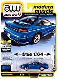 1991 Dodge Stealth R/T Twin Turbo Mystic Blue Metallic with Black Top Ltd Ed 10240 pcs 1/64 Diecast Model Car by Autoworld 64282-AWSP056 B