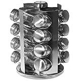 SIDCO Gewürzregal Edelstahl Gewürzständer Gewürzkarussell mit 16 Gläser drehbar