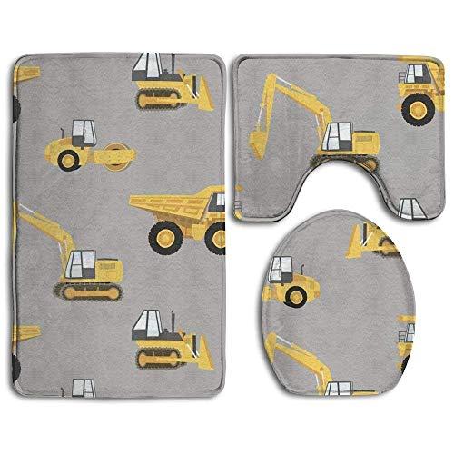 HUREA Construction Trucks 3 Piece Bath Mat Set Toilet Rug Bathroom Contour Mat Non-Slip Washable Rubber Backing