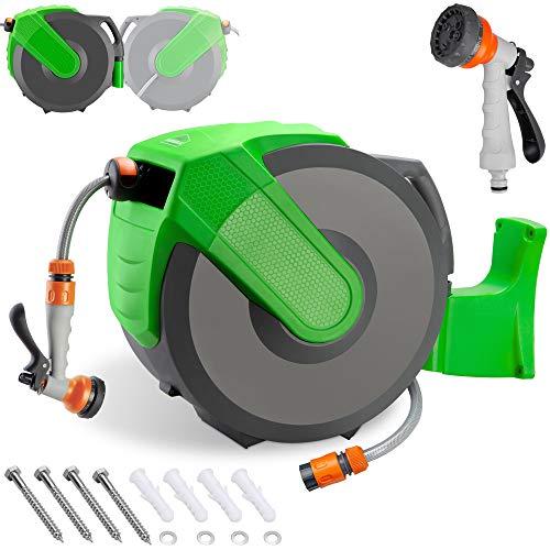 Schlauchtrommel 30 + 2m Schlauchaufroller Wasser Handbrause 7 Funktionen 180° Schwenkbar Aufwickelstopper Gartenschlauch