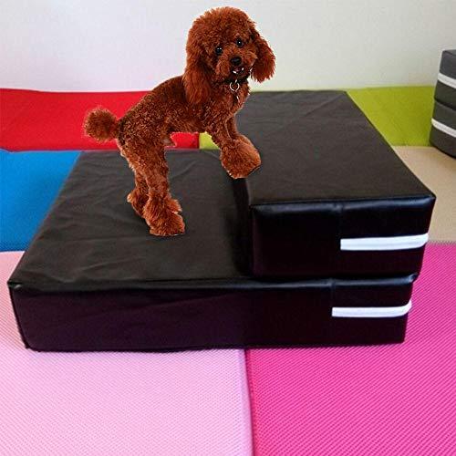 Escalier pliable pour animal domestique - Double couche de mousse avec coussin en maille respirante - Housse en cuir amovible et lavable - Facile à monter et à nettoyer