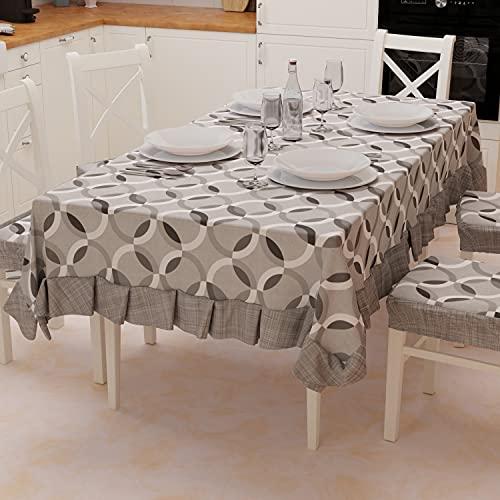 PETTI Artigiani Italiani - Tovaglia, Tovaglia da Tavola, Copritavola, Tovaglia Plastificata con Riccio in Cotone Disegno Cerchio Grigio X12 Posti (140x240 cm) 100% Made in Italy