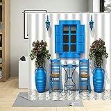 Traditionelle Griechenland griechische Sendezeit Stadt Dusche Vorhang Blumen Fenster Badezimmer Dekor wasserdichte Bad Gardinen mit Haken