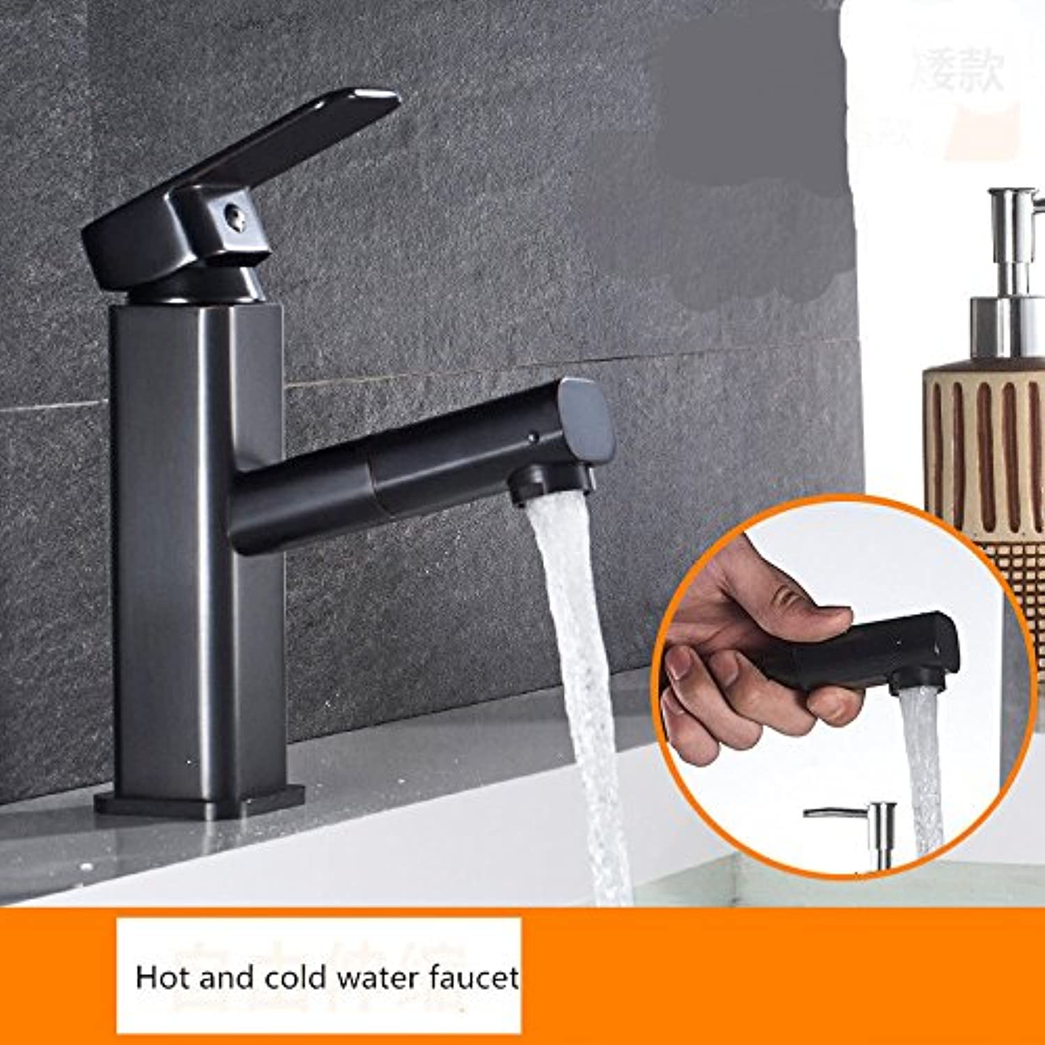 Hlluya Professional Sink Mixer Tap Kitchen Faucet All copper pull faucet basin mixer with high cold water taps on the desk antique black basin mixer water faucet, D.