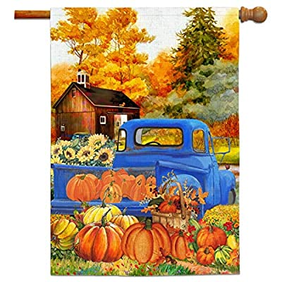 Bonsai Tree Fall Flags 28x40 Double Sided, Primitive Autumn Harvest Pumpkins Burlap Garden Flag, Farm Truck Sunflowers Welcome Yard Flags Rustic Outdoor Decor Signs