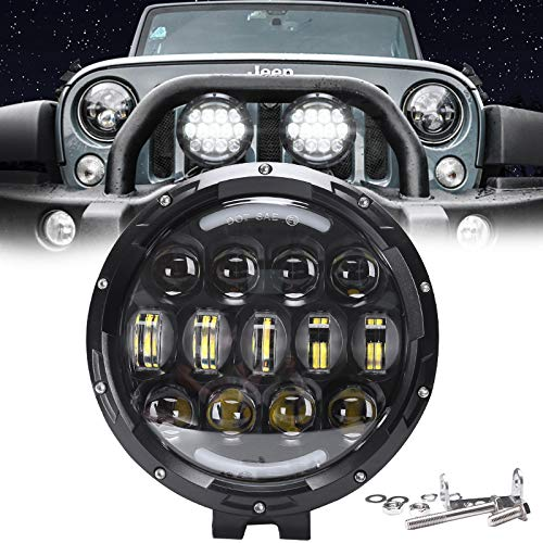 AUDEXEN LED Work Lights, 7 Inch 105W Round Spot LED Pods Light Bar High/Low Beam DRL with Adjustable Mounting Bracket Compatible with Jeep Wrangler Off Road 4WD Truck SUV UTV ATV Driving Lamp, 1 PCS