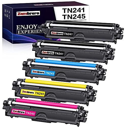 Zambrero Compatible TN241 TN245 TN-241 TN-245 Cartucho de Tóner para Brother DCP-9015CDW 9020CDW HL-3140CW 3150CDW 3170CDW MFC-9140CDN 9330CDW 9340CDW (2 Negro, 1 Ciano, 1 Magenta, 1 Amarillo) ✅