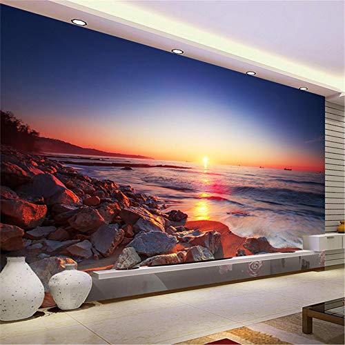 JIYOTTF Papel tapiz 3D foto mural de la pared decoración del dormitorio del hogarAtardecer playa arrecife vista(W 250 x H 175cm) Papel tapiz fotográfico 3D Etiqueta de la pared Pegatinas de pared Dec