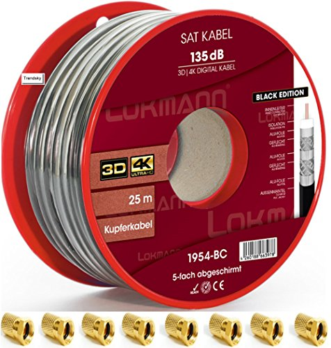 Negro 25m Cobre Puro KU 135dB apantallado, 5de cable coaxial Cable coaxial SAT Cable de antena TV satélite Cable Full HD, UHD, 4K, 8K + velocidad, + 10conectores F