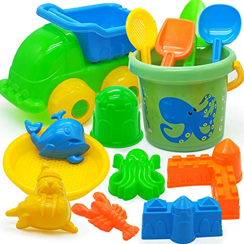 Blooming lilies Beach Sand Sandbox Toy Set Construction Vehicle Bucket Shovel Rake 14 Pack for Kids Toddlers Boys Girls Indoor Outdoor