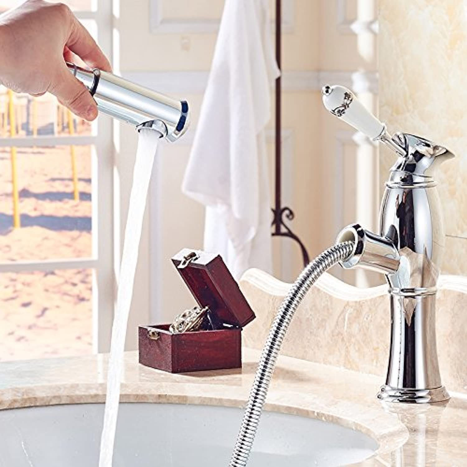 Hlluya Professional Sink Mixer Tap Kitchen Faucet Ya poetry pull basin faucet full-scale copper cold water wash-basin sink tap on the lower leg - Antique color, Low Pin - Silver