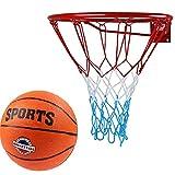 [page_title]-Kimet Basketballkorb mit Ball Outdoor Kinder | Basketball Korb fürs Zimmer | Ring mit Netz | Set inklusive Basketball | Durchmesser 45cm