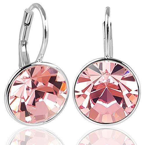 NOBEL SCHMUCK Silber-Ohrringe Rosa mit Kristallen von Swarovski® 925 Silver