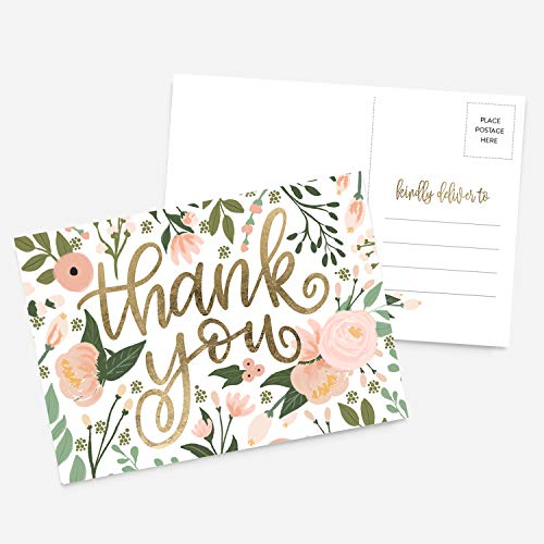 50 4x6 Thank You Postcards Floral Faux Gold Handlettered Bulk Set, Floral Watercolor Calligraphy Note Card Stationery, Blank Thank You Cards For Wedding, Bridesmaid, Bridal or Baby Shower, Business