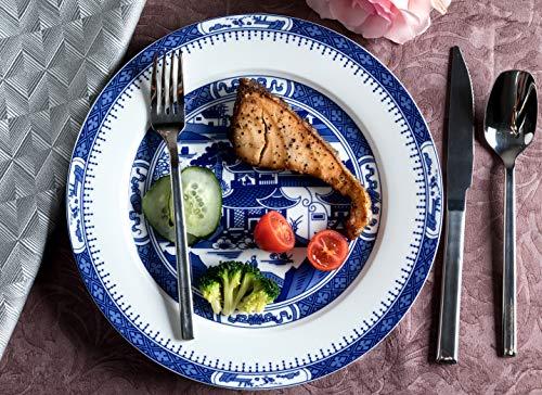 Pangu HandMade 10-Piece Dinnerware Set, Service for 2, Delft Blue, Blue and White, 2 Bowls, 2 Dishs, 2 Salad Plates, 2 Mugs and Saucers