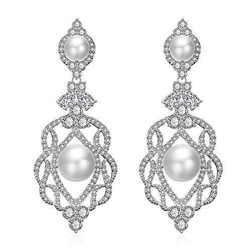 QUKE Silber-Ton CZ österreichische Kristall Simulierte Perle Wasser Tropfen Braut Hochzeit Baumeln hängend Ohrringe Für Frauen Mädchen