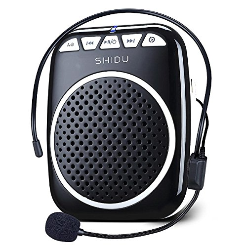 Zoweetek Portable Rechargeable Mini Voice Amplifier with Wired Microphone Headset and Waistband for Teachers, Tour Guides, Coacher, Singing, Training and Presentation (S308-Black)