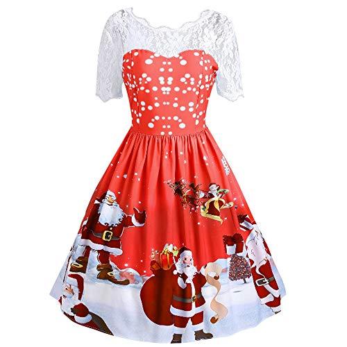 VEMOW 2018 Elegante Damen Frauen Frohe Weihnachten Vintage Weihnachtsmann Print Spitze Abendgesellschaft Kleid Cocktailkleider(Rot, 34 DE/M CN)