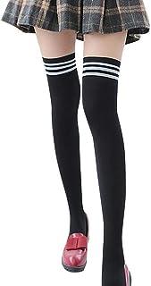 Calcetines Altos Media Para Mujer Clásico Rayas Blancas Y Negras Calcetines En Tubo Antideslizantes