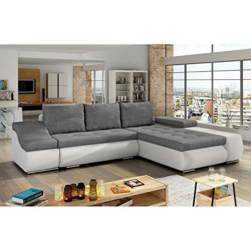 Mobilier Deco Lohan – Divano angolare convertibile, cassapanca, colore: grigio e bianco – angolo destro