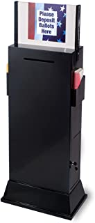 Displays2go Steel Floor-Standing Ballot Box with Acrylic 17 by 11-Inch Sign Frame, Two Brochure Pockets - Black (YCHL601BLK)