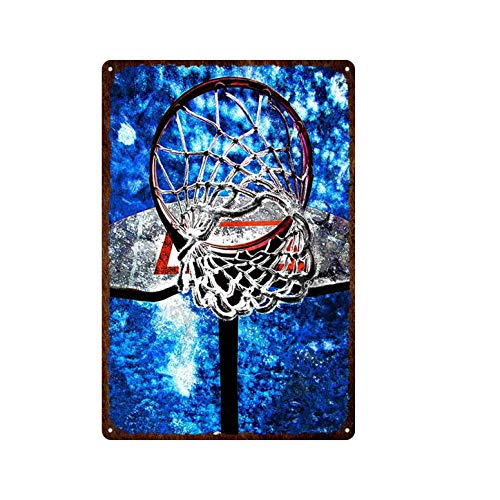 ivAZW Tin Sign Poster Basketball Hoop Decorative Plate Sports Metal Wall Decor Iron Painting Bedroom 20x30cm 9