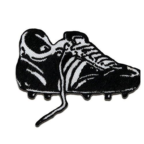 Aufnäher/Bügelbild - Fußballschuh Fußball - schwarz - 7,3x5,5cm - Patch Aufbügler Applikationen zum aufbügeln Applikation Patches Flicken
