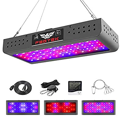 600W LED Grow Light Double Switch with Daisy Chain,Temperature and Humidity Monitor, Adjustable Rope, FSGTEK Full Spectrum Grow Lamp for Indoor Hydroponic Plants Vegetative and Flowering… (F600)