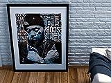 Póster enmarcado de Nas Hip-Hop Gods Son Illmatic Graffiti King's Disease Queens Nueva York con marco negro con montura blanca hielo