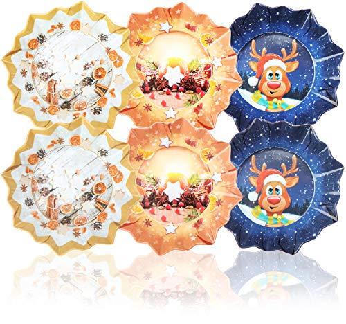 COM-FOUR® 6x Piatto natalizio in melamina - Piatto natalizio a forma di stella - Biscotto per Natale o Babbo Natale in diversi modelli [la selezione varia] (06 pezzi - a forma di stella)