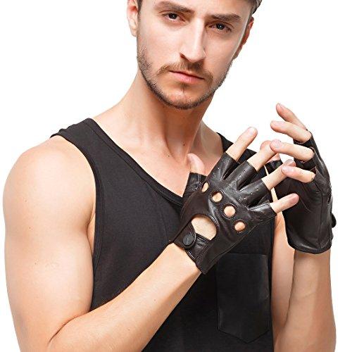 Nappaglos hombres de cuero guantes de conducir italiano medio dedo guantes fingerless sin forro de piel de cordero para la motocicleta Ciclismo Equitacion (S (Palm circunferencia: 8.1), Brown)