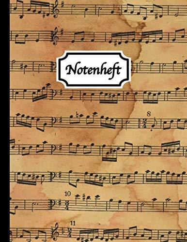 Notenheft: Blanko Notenheft - Notenpapier Block A4 - 100 Seiten - 12 Notensysteme pro Seite - Vintage - Größe: Ca. A4