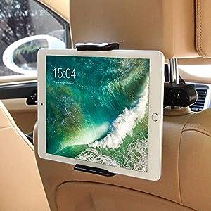 Soporte Tablet Coche, Soporte Reposacabezas, POOPHUNS Soporte para Tablet para 6-11 Pulgadas, Apoyo 360 Rotación, Silicona Antideslizante, Compatible con iPad, Samsung Galaxy Tab y Otras Tabletas