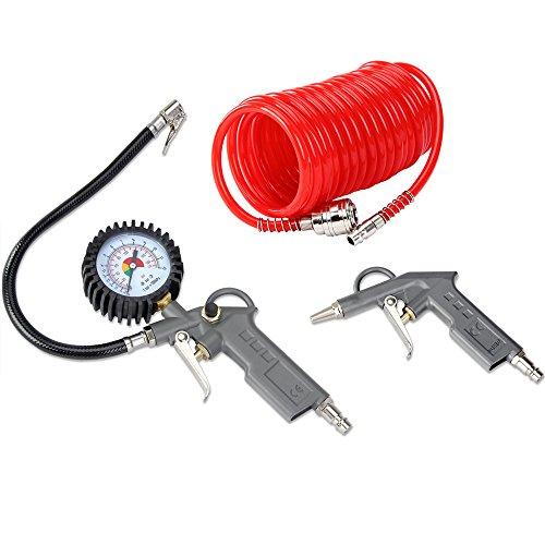 Druckluft Set 3tlg. für Kompressoren Max. Druck 12 Bar Spiralschlauch 5m Reifenfüllmesser Ausblaspistole - Ausblaseset Reifenfüller