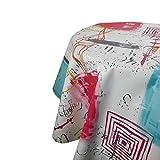 DecoHomeTextil Wachstuchtischdecke Wachstuch Tischdecke Gartentischdecke Rund Oval Lesley Pink Oval ca. 140 x 180 cm abwaschbare Wachstischdecke