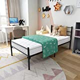 JURMERRY Single Metal <span class='highlight'>Bed</span> Frame 3ft <span class='highlight'>Bed</span> Frame with Strong Headboard and Footboard,Black