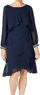 S.L. Fashions Women's Long-Sleeve Chiffon Cocktail Dress (Petite and Regular)